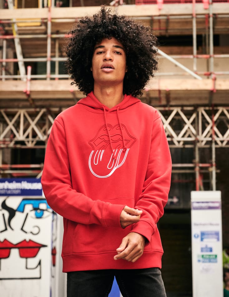 Stones Red Embroidered Circle Tongue Hoodie