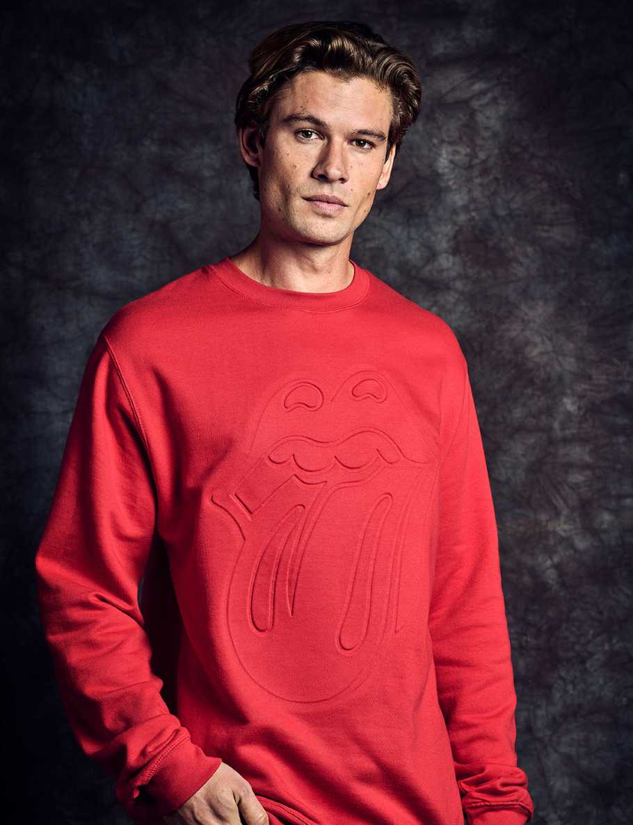 Stones Red Embossed Classic Tongue Crewneck